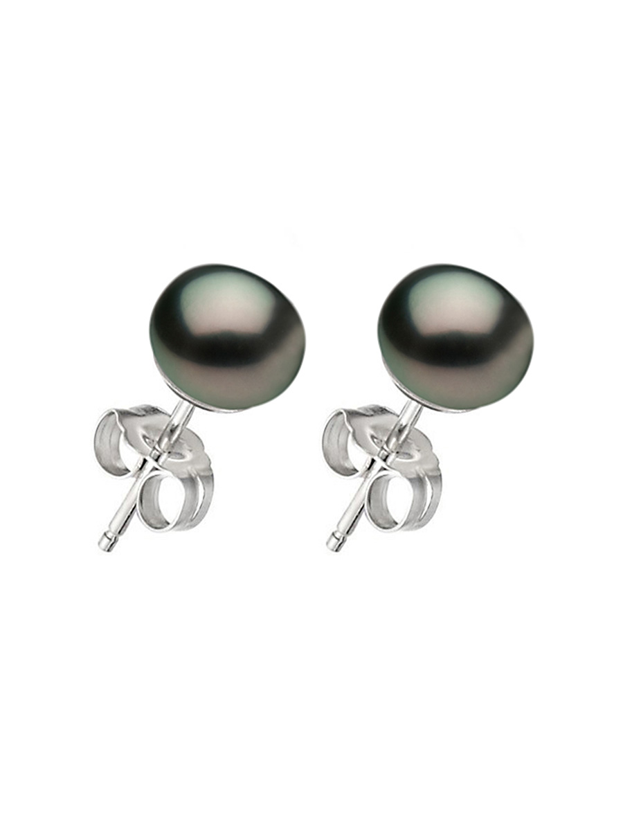Pacific Pearls Bora Collection Black Pearl Stud Earrings On 14k White Gold Filled Posts