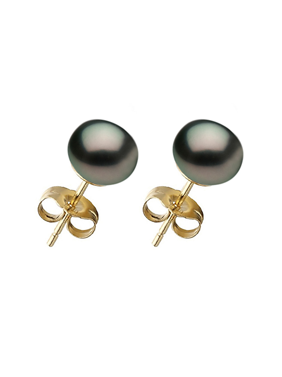 BORA BORA COLLECTION Black Pearl Stud Earrings on 14K Yellow Gold