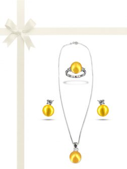 PACIFIC PEARLS BORA BORA COLLECTION Champagne Pearl Three-Piece Diamond Jewelry Gift Set