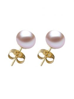 PACIFIC PEARLS BORA BORA COLLECTION Lilac Pearl Stud Earrings on 14K Yellow Gold Filled Posts