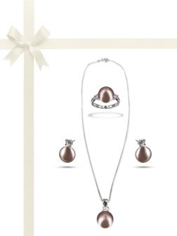 PACIFIC PEARLS BORA BORA COLLECTION Lilac Pearl Three-Piece Diamond Jewelry Gift Set