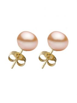 PACIFIC PEARLS BORA BORA COLLECTION Peach Pearl Stud Earrings on 14K Yellow Gold Filled Posts