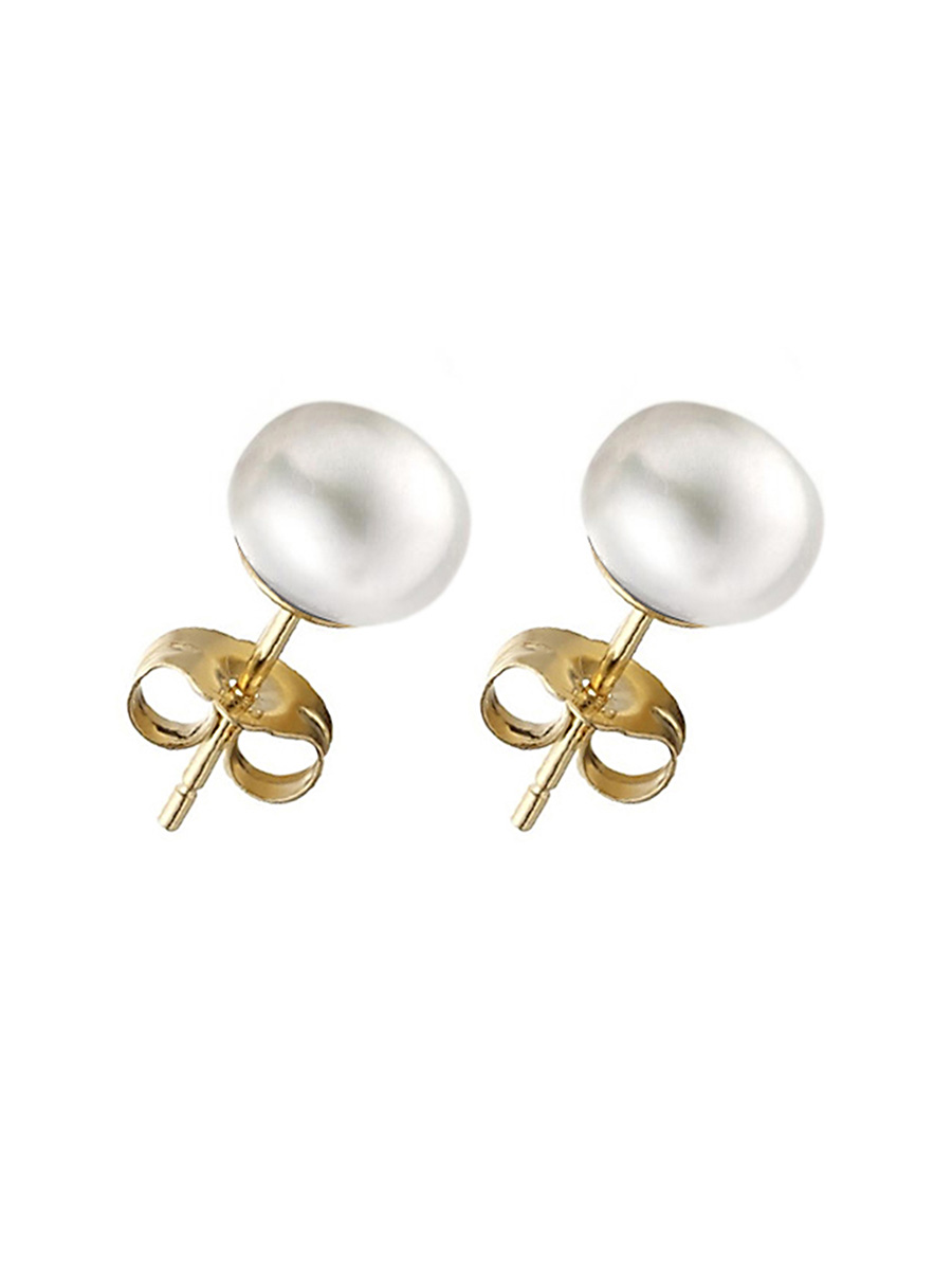 PACIFIC PEARLS BORA BORA COLLECTION White Pearl Stud Earrings on 14K Yellow Gold Filled Posts