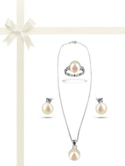 PACIFIC PEARLS BORA-BORA-COLLECTION-White-Pearl-Three-Piece-Diamond-Jewelry-Gift-Set
