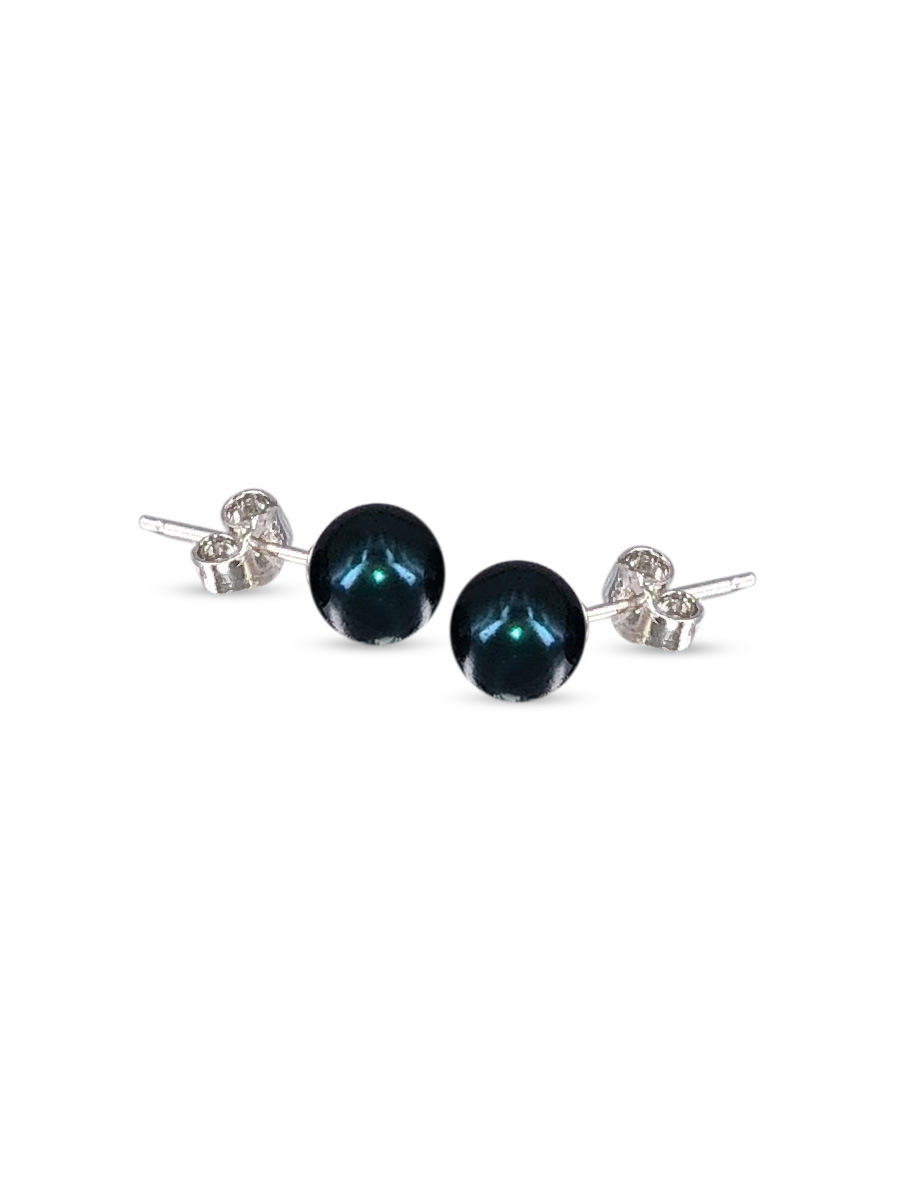 PACIFIC PEARLS BUA BAY COLLECTION Black 7mm Pearl Stud Earrings
