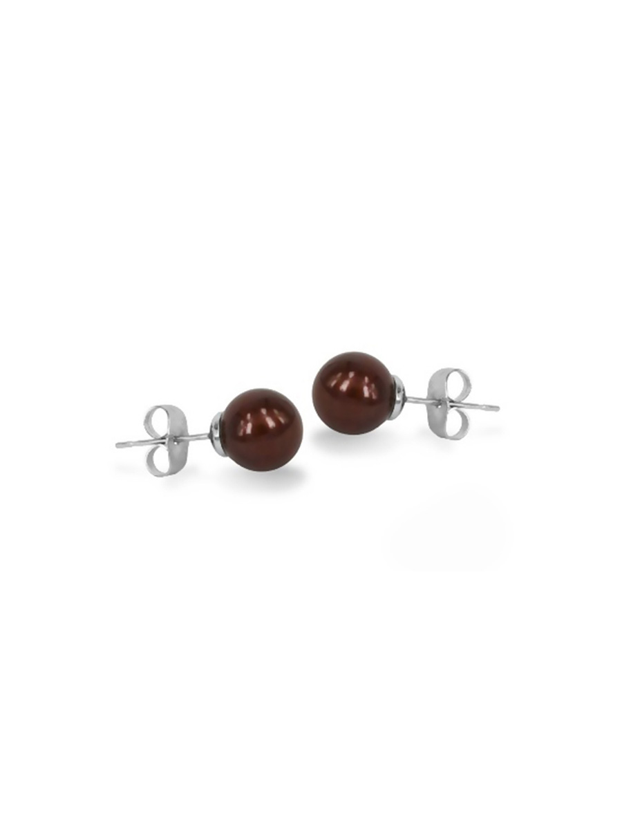 PACIFIC PEARLS MARIA-THERESA REEF COLLECTION Chocolate 9mm Pearl Stud Earrings