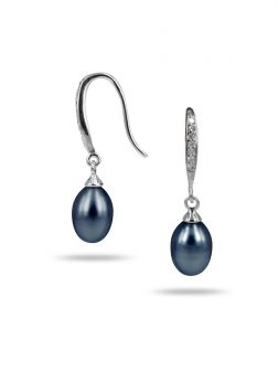 PACIFIC PEARLS SULU SEA COLLECTION Black Diamond Drop Pearl Earrings