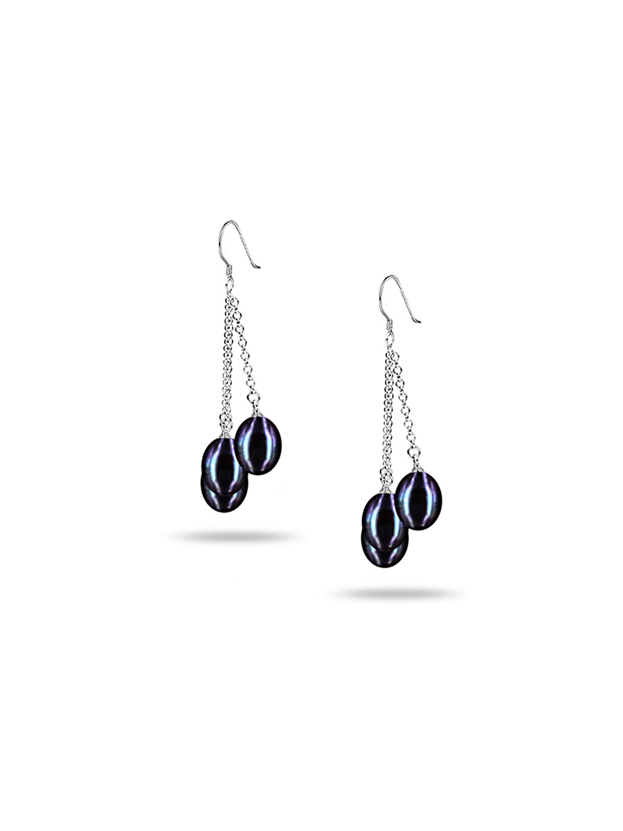 PACIFIC PEARLS SULU SEA COLLECTION Black Triple Drop Pearl Earrings