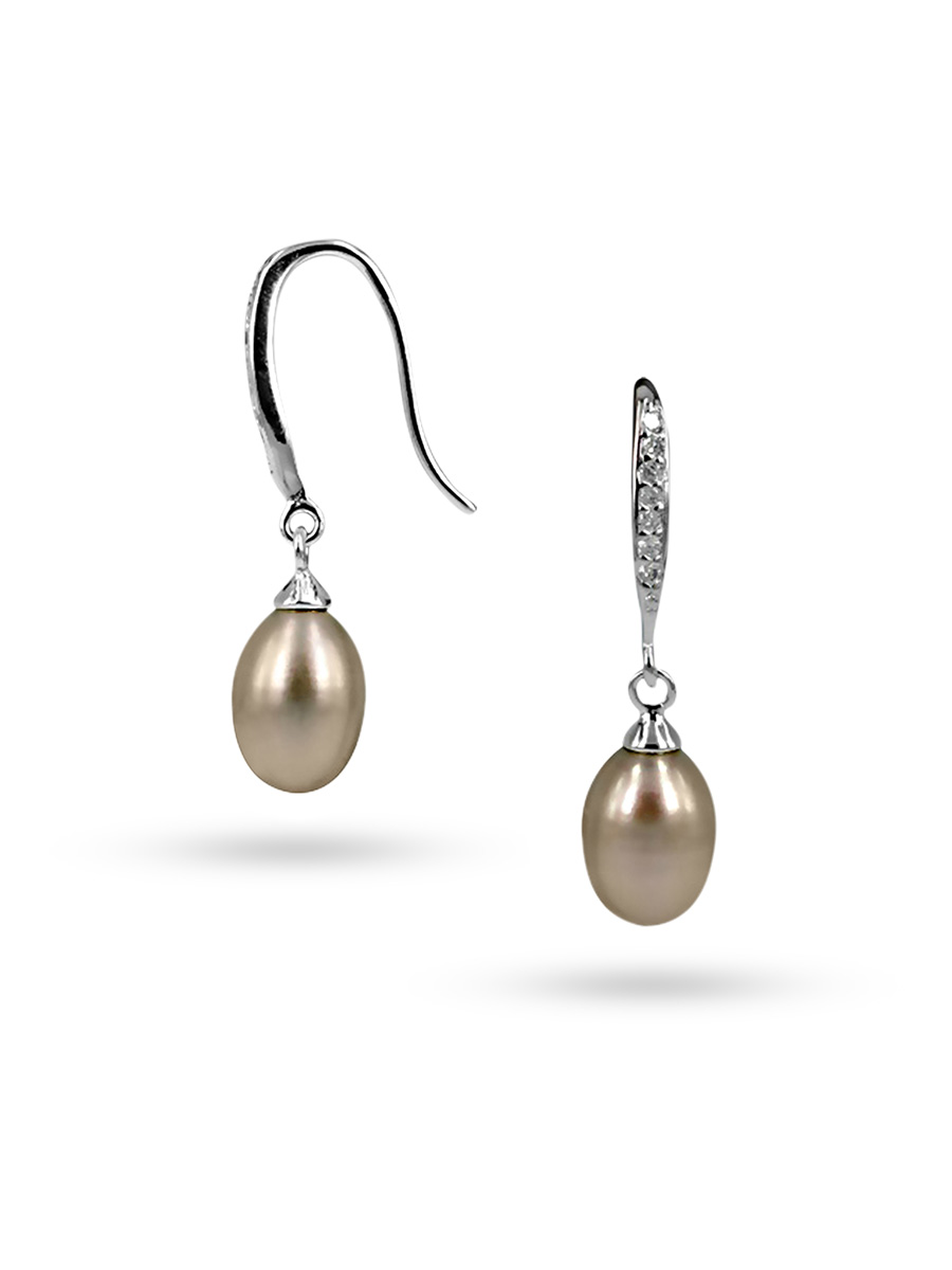PACIFIC PEARLS SULU SEA COLLECTION Pink Diamond Drop Pearl Earrings
