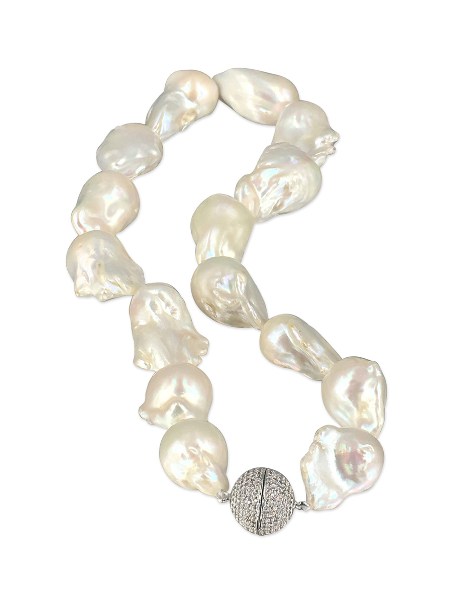 PACIFIC PEARLS POLYNESIA COLLECTION White 15-20mm Giant Baroque Pearl Necklace