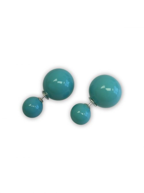 OYSTER BAY COLLECTION TURQUOISE BLUE MOTHER-OF-PEARL REVERSIBLE STUD EARRINGS