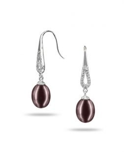 PACIFIC PEARLS TERAINA COVE COLLECTION Lavender Diamond Drop Pearl Earrings
