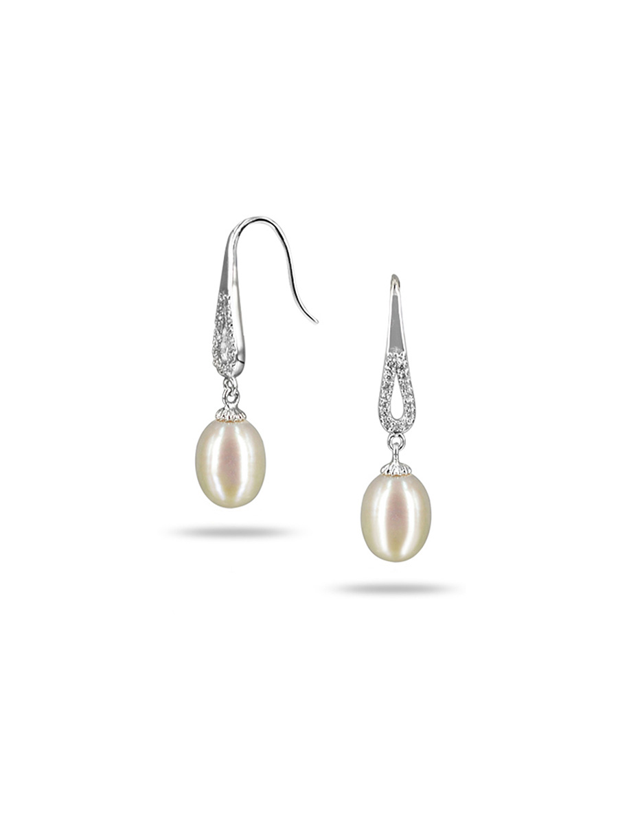 Teraina Cove Collection White Diamond Drop Pearl Earrings Pacificpearls