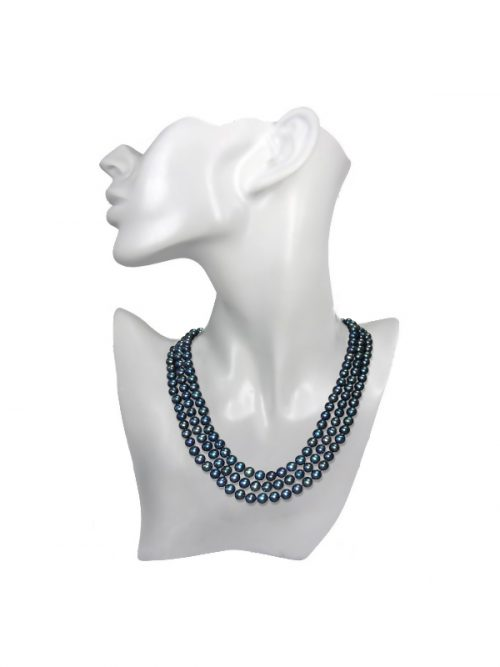 ROYAL FALLS COLLECTION BLACK TRIPLE STRAND PEARL NECKLACE