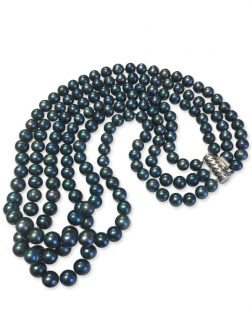 PACIFIC PEARLS ROYAL FALLS COLLECTION Marine 7-8mm Triple Strand Pearl Necklace
