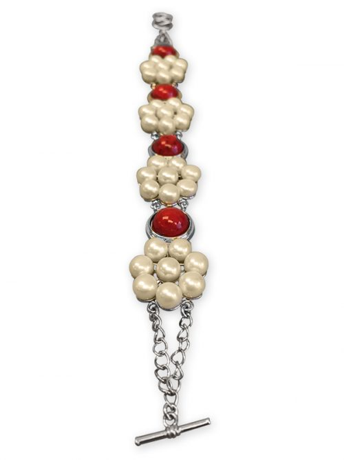BORA BORA COLLECTION CORAL AND WHITE PEARL BRACELET