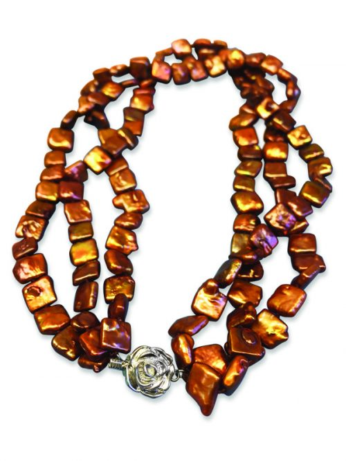 MAUNA LOA COLLECTION BRONZE TRIPLE STRAND SQUARE PEARL NECKLACE