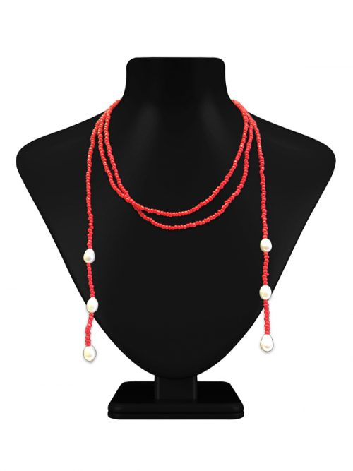 TERAINA COVE COLLECTION DOUBLE STRAND CORAL AND PEARL LARIAT