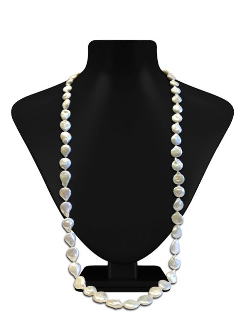 BORA BORA COLLECTION SNOW WHITE DOUBLE STRAND COIN PEARL NECKLACE