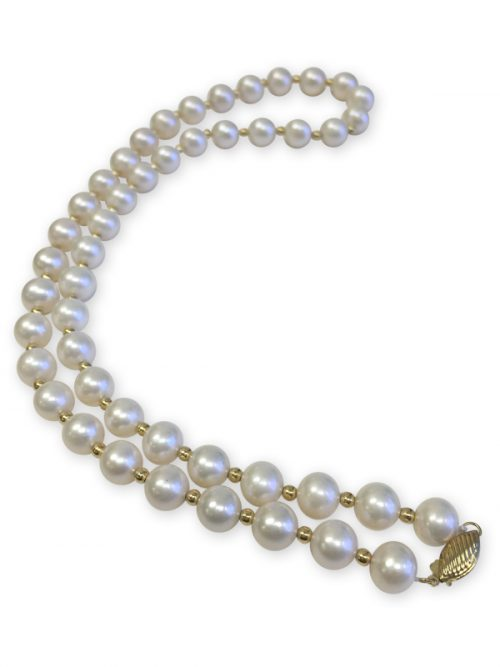 ROYAL FALLS COLLECTION IVORY 21.5 INCH GOLD RONDELLE PEARL NECKLACE