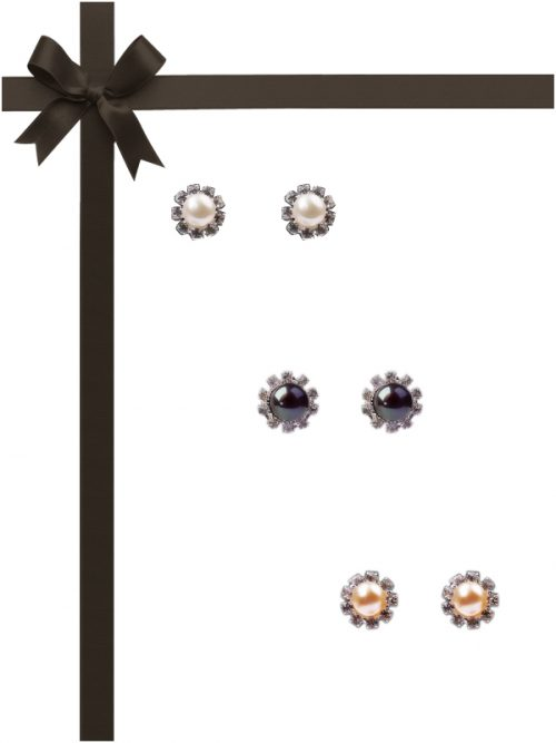TARA ISLAND COLLECTION Diamond Encrusted Pearl Stud Earring Gift Set
