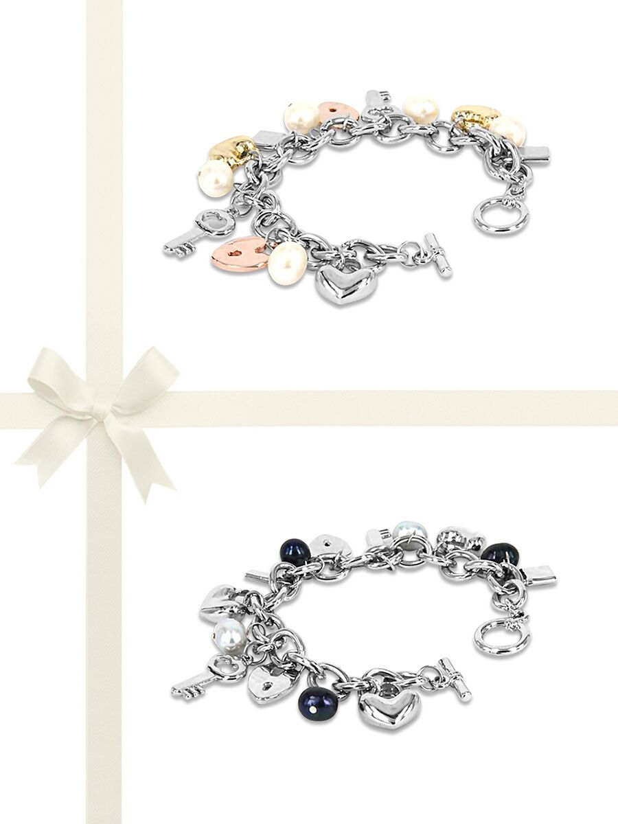 Pacific Pearls Rose Atoll Collection Two Piece Baroque Pearl Charm Bracelet Gift Set