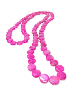 PACIFIC PEARLS OYSTER BAY COLLECTION Hot Pink Double Strand Mother-of-Pearl Necklace