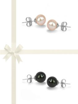 PACIFIC PEARLS MARIA-THERESA REEF COLLECTION Pink and Black Pearl Stud Earring Gift Set