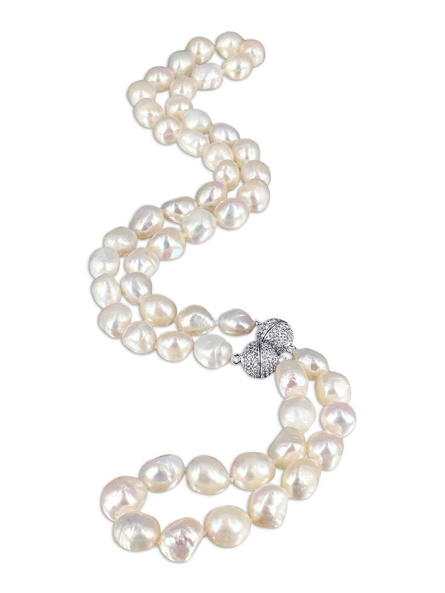 3020acd88cd30 MERMAID BEACH COLLECTION Foam 10-12mm Soufflé Pearl Necklace & Bracelet Set