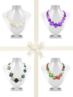 PACIFIC PEARLS OYSTER BAY COLLECTION Square Mother-of-Pearl Necklace Gift Set