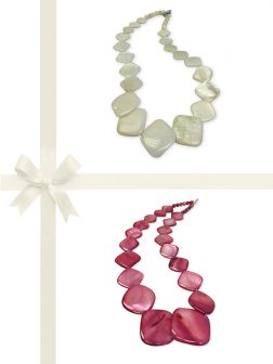 PACIFIC PEARLS OYSTER BAY COLLECTION Vanilla and Dusty Rose Mother-of-Pearl Necklace Gift Set