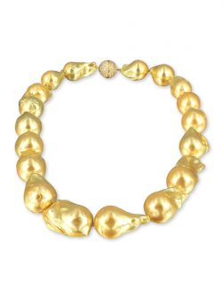 PACIFIC PEARLS POLYNESIA COLLECTION Gold 15-20mm Giant Baroque Pearl Necklace