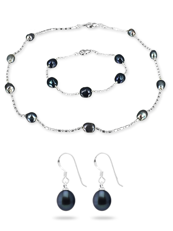 Pacific Pearls Teraina Cove Collection Black 6 7mm Pearl Necklace Bracelet And Earring