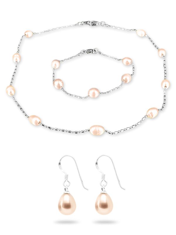 Teraina Cove Collection Pink 6 7mm Pearl Necklace Bracelet Earring Set