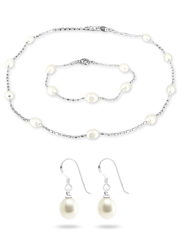 Pacific Pearls Teraina Cove Collection White 6 7mm Pearl Necklace Bracelet And Earring