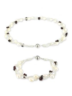 PACIFIC PEARLS TREASURE ISLAND COLLECTION Garnet and Pearl Versatile Necklace and Bracelet Set