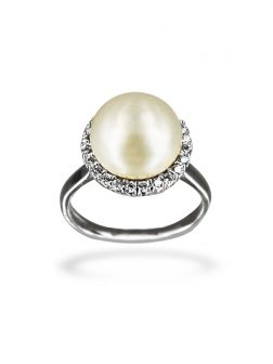 PACIFIC PEARLS BORA BORA COLLECTION Circle of Life Diamond Encrusted White Pearl Ring