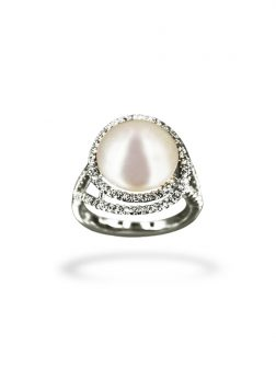 PACIFIC PEARLS BORA BORA COLLECTION Felicity Diamond Encrusted White Pearl Ring