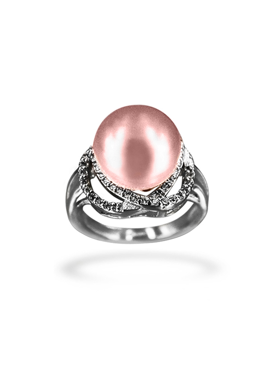 PACIFIC PEARLS BORA BORA COLLECTION Hearts on Fire Diamond Encrusted Blush Pearl Ring