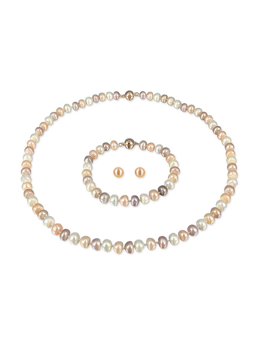 PACIFIC PEARLS PALLISER LAGOON COLLECTION Dawn 7-8mm Versatile Pearl Necklace, Bracelet, and Earring Set