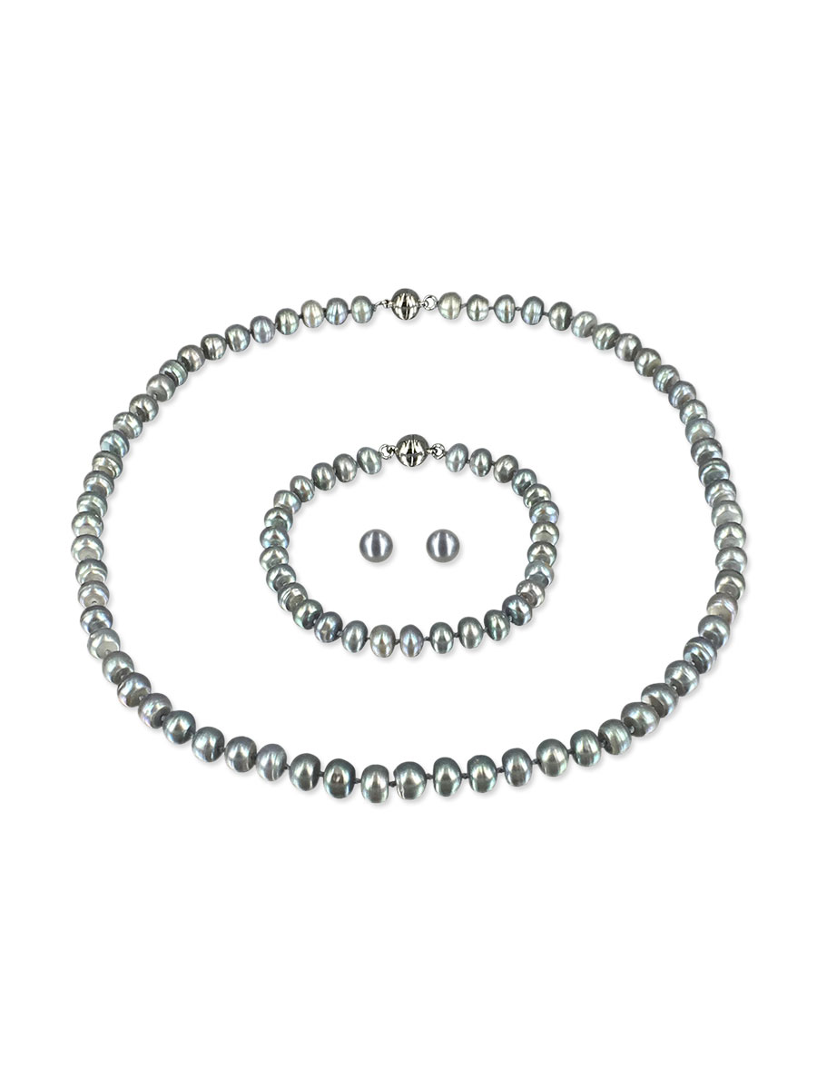 PACIFIC PEARLS PALLISER LAGOON COLLECTION Lady Gray 7-8mm Versatile Pearl Necklace, Bracelet, and Earring Set