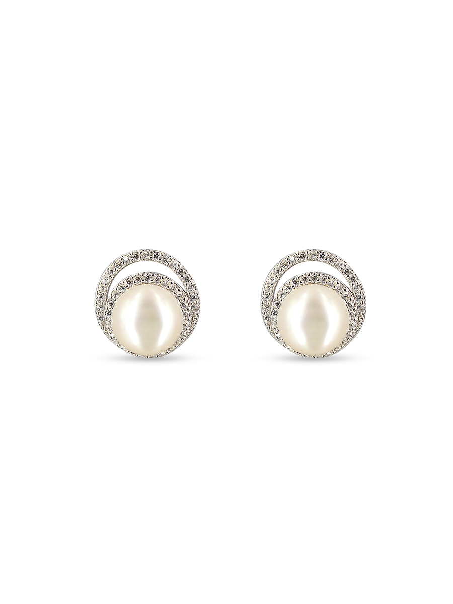 PACIFIC PEARLS TARA ISLAND COLLECTION Celeste Diamond Encrusted White Pearl Earrings