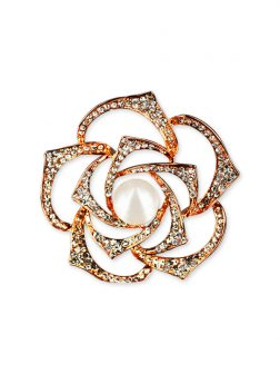 PACIFIC PEARLS VANUATU COLLECTION Begonia Diamond Encrusted Pearl Brooch