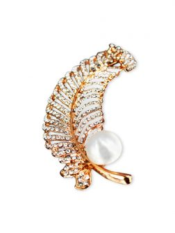 PACIFIC PEARLS VANUATU COLLECTION Fern Diamond Encrusted Pearl Brooch