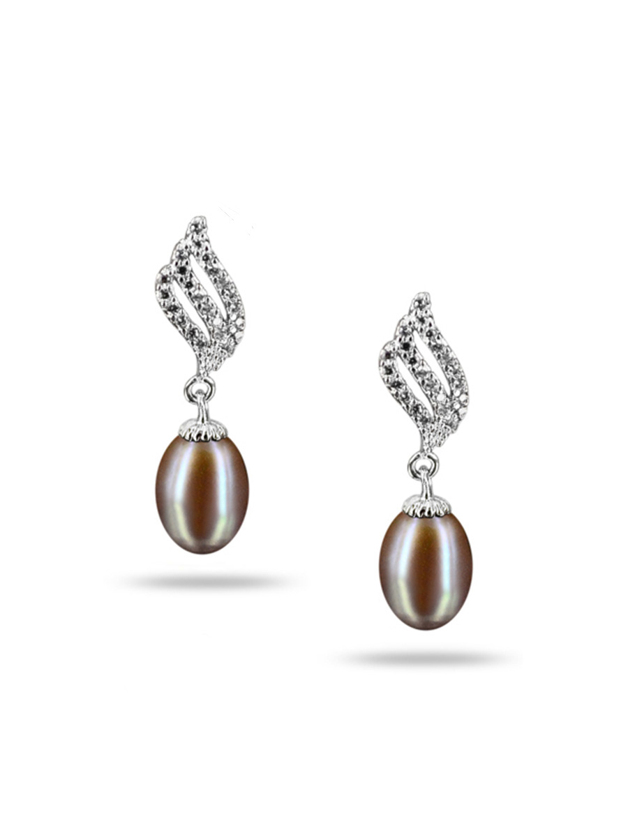PACIFIC PEARLS SULU SEA COLLECTION Candlelight Diamond Encrusted Lavender Pearl Earrings