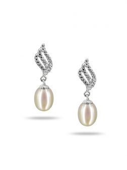 PACIFIC PEARLS SULU SEA COLLECTION Candlelight Diamond Encrusted White Pearl Earrings