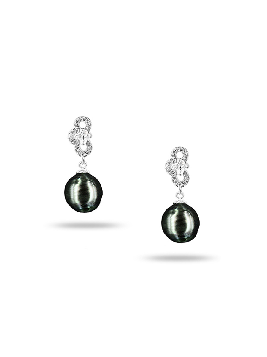 PACIFIC PEARLS TAHITIAN COLLECTION Highland Fling 11-12mm Tahitian Baroque Pearl Earrings