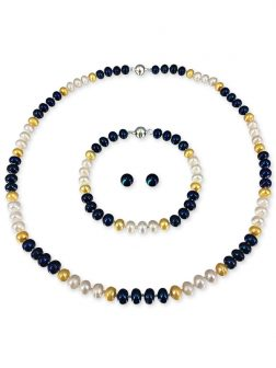PACIFIC PEARLS PATRIOT COLLECTION U.S. Navy Pearl Necklace, Bracelet, and Earring Set