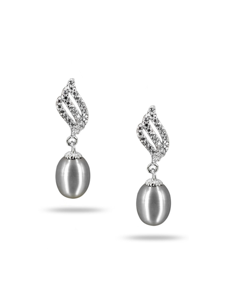 Sulu Sea Collection Candlelight Diamond Encrusted Silver Gray Pearl Earrings Pacificpearls