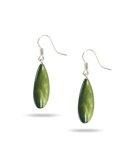 PACIFIC PEARLS TREASURE ISLAND COLLECTION Bells of Ireland Dewdrop Mother-of-Pearl Earrings